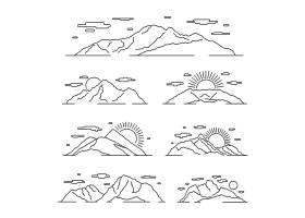 线性山图线山阿尔卑斯山风景集与山岩石_13422953