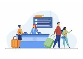 通过飞行登记柜台的愉快的旅客旅行行李_10172847