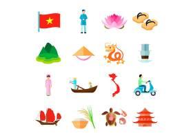 越南图标集越南旅行矢量图越南旅游平面_4426467