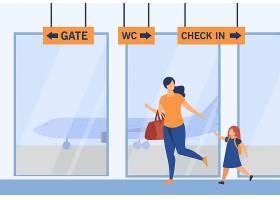 跑在机场的微笑的母亲和女孩行李飞机_14625673