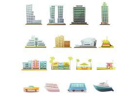 迈阿密海滩大厦城市景观游客景点和运输复古_3792198