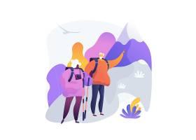 退休旅行徒步旅行在与背包和照相机的山的_12146084