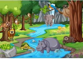 野生动物在丛林场景中_13832692