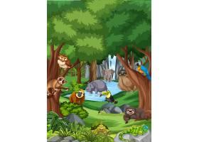 野生动物漫画人物在森林场面_13832771
