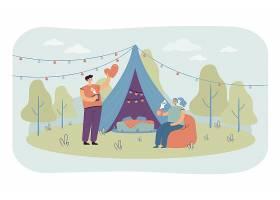 野营的快乐的夫妇一起在自然隔绝了平的例证_13146227
