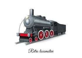 铁路上的复古风格蒸汽火车铁车_2872080