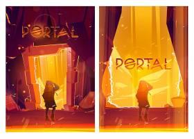 门户动画片海报与旅行者人立场在魔术传送的_15733293