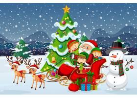 雪橇的圣诞老人与驯鹿和许多孩子在雪场面穿_12364703