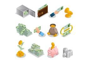 等量现金象设置了与银行安全钱包货币袋金币_10055493