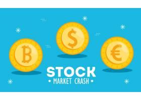 股市崩溃与金钱硬币图_7501123