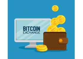 计算机比特币屏幕和钱包与硬币_5713246