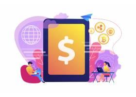 商人和妇女与小配件转移金钱数字货币加_10780516