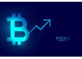在蓝色技术风格的比特币生长图表图表_13891849