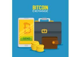 智能手机与比特币货币和公文包与钱包_5713248