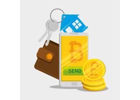 有比特币货币和钱包的智能手机与房子钥匙_5713269