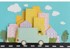 纸张风格分类的城市交通_15421421