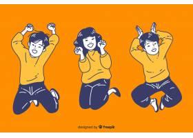 跳跃在韩国绘画样式的少年_5599503
