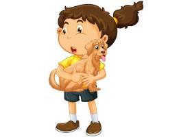拿着逗人喜爱的狗漫画人物的女孩隔绝在白色_15555744