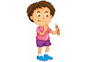 拿着铅笔漫画人物的一个男孩隔绝在白色背景_16865354