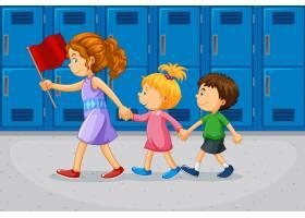 教师和学生在学校走廊_11693537