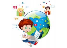 有社交媒体元素的孩子在白色_11770540