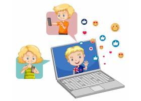 有社交媒体元素的孩子在白色_13774134