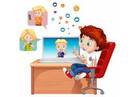 有社会媒介元素的孩子在白色背景_12321585