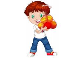 有红色头发的逗人喜爱的男孩拿着在站立位置_11862384