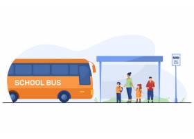 有老师的孩子在公共汽车站等待公共汽车_12290929