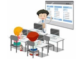 有计算机教室元素的学生在白色背景_11701928