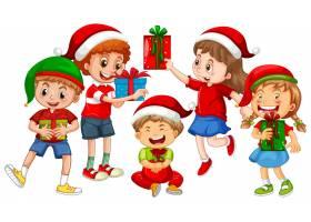 在圣诞节题材的不同的孩子佩带的服装和拿着_15553658