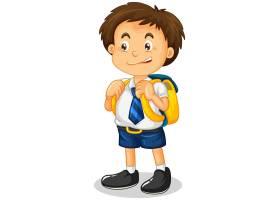 在白色背景隔绝的学生男孩漫画人物_16865826