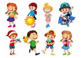套使用与他们的玩具的不同的孩子在白色背景_12364997