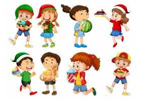 套使用与他们的玩具的不同的孩子在白色背景_13577294