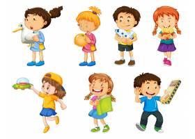 套使用与他们的玩具的不同的孩子在白色背景_13753834