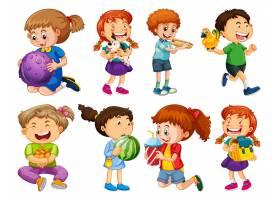 套使用与他们的玩具的不同的孩子在白色背景_16265142