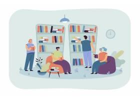 坐在书架和阅读书的人们在书店学生在图书_12291229