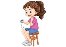 坐椅子和拿着计时器的逗人喜爱的女孩_14570254