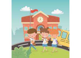 学校大厦和公共汽车与孩子在现场_4939272