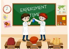 与佩带的实验室褂子的学生的教室场面_13774198