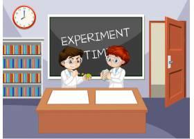 与佩带的实验室褂子的学生的教室场面_13988192