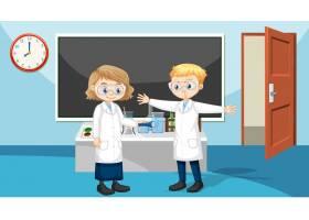 与佩带的实验室褂子的学生的教室场面_15549691