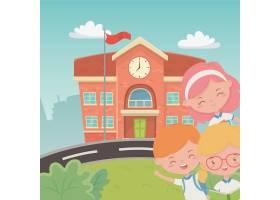 与孩子的学校大厦在现场_4939251
