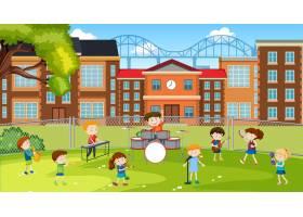 活跃的孩子在学校公园玩_13776230