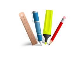 绘画和写作工具收集由蓝色笔红色铅笔黄_11242026