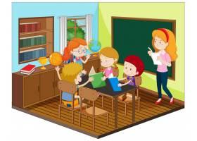 老师和学生在教室里有家具_11862455
