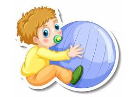 贴纸模板与孤立的男婴卡通人物_16456995