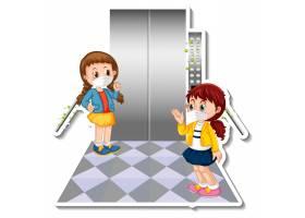 贴纸设计与两个孩子戴着面具在电梯里_17622472