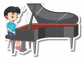 贴纸设计与男孩弹钢琴_16262654