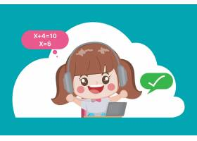 学生在家里待在网上学习_13018377